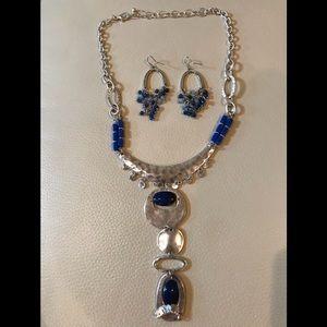 Jewelry - Metal/Blue Beads Art Deco Necklace & Earrings
